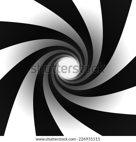black and white spiral light at end of tunnel - stock photo