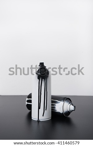 black and white spray paint bottle - stock photo