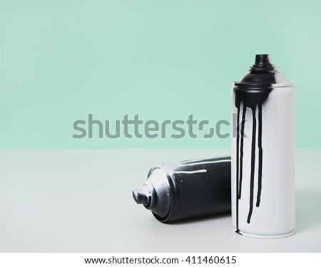 black and white spray paint bottle - stock photo