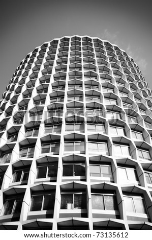 Black and white squares, architecture abstract