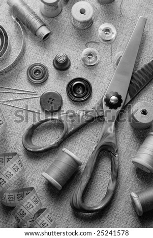 "Black and White ""Still Life"" of Sewing Supplies. Manually mixed with Red, Green and Blue channels and grayscale component of the image - stock photo"