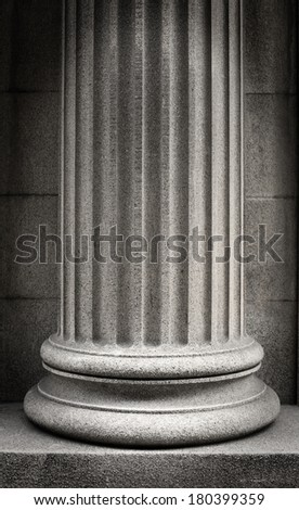 Black and white stone column  - stock photo
