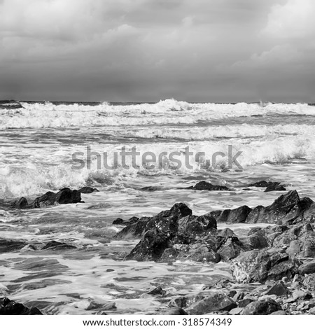 Black and white stormy sea after a rain