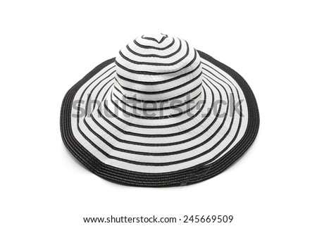 Black and white stripes beach hat from isolated on white - stock photo