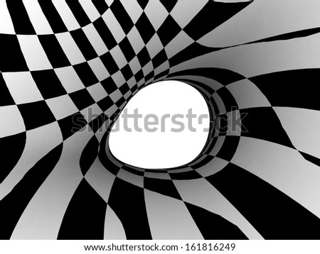 Black and White Stripes Projection on 3D abstract surface. - stock photo