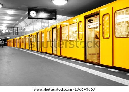 black and white subway station Hermannplatz in Berlin Neukoelln, germany - stock photo
