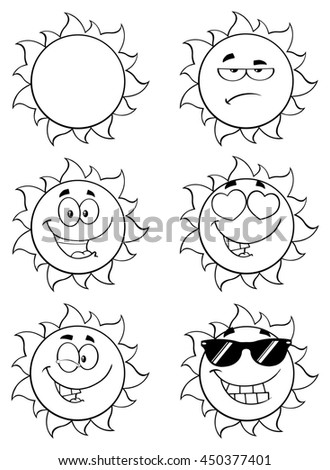 Black And White Sun Cartoon Mascot Characters. Set Raster Collection Isolated On White - stock photo
