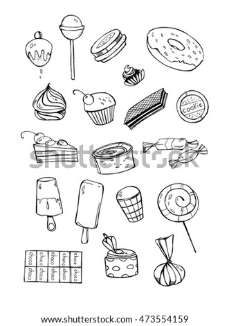 Black and white sweets on a white background. Ice cream, cake, chocolate, candy, donuts, cookies, lollipop and others. Nice element for your project.