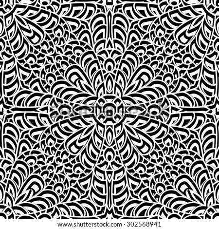 Black and white swirly ornament, vintage seamless pattern, raster illustration - stock photo