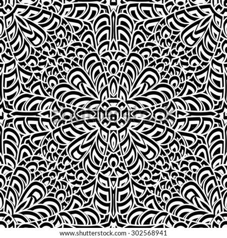 Black and white swirly ornament, vintage seamless pattern, raster illustration - stock photo