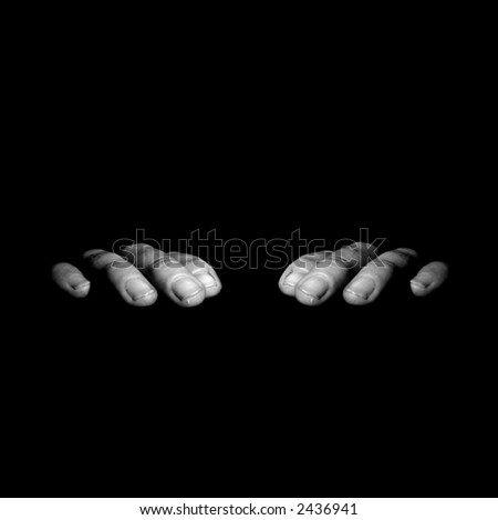 Black and white symetrical hands creeping on the edge isolated with black background - stock photo