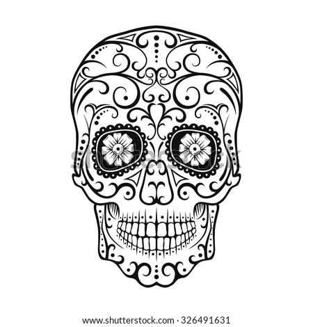 Black and White tattoo Skull. Day Of The Dead Candy Skull. Mexican Dia de los Muertos Sugar Skull. - stock photo