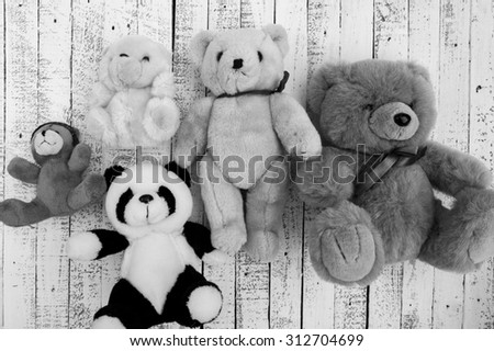 Black and white teddy bears poster