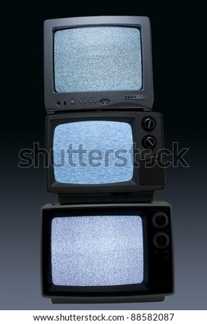 black and white televisions - stock photo