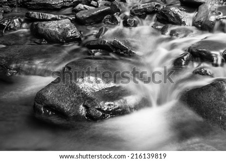 Black and white texture of flowing water and rocks