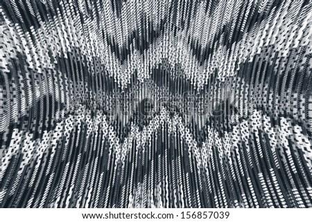 Black and white textured fabric. - stock photo
