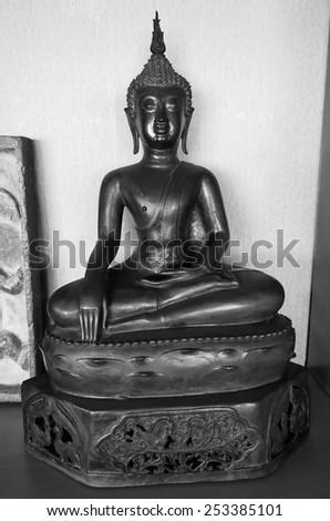 black and white thai buddha  - stock photo