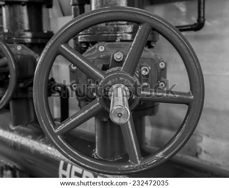 black and white the water sprinkler system control, fire fighting - stock photo