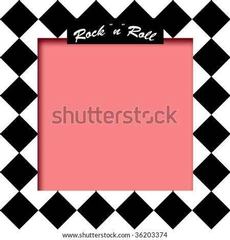 black and white tile background with pink frame illustration - stock photo