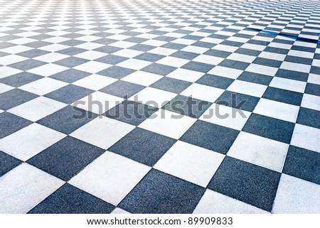 Black and White Tiled floor of the Terrazza Mascagni, Livorno, Tuscany, Italy. - stock photo