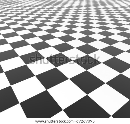 Black and White Tiles - 3d illustration