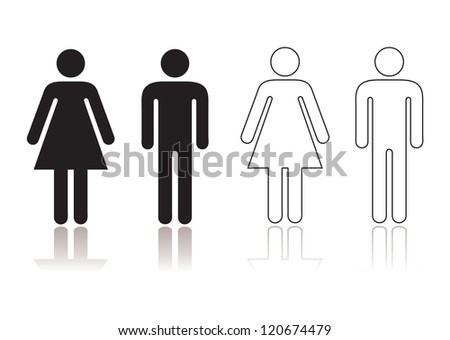 Black and white toilet restroom symbol with shadow reflection - stock photo