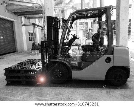 Black and white tone of Forklift industry in Thailand.