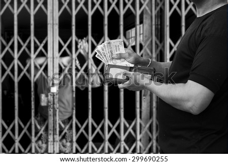 black and white tone-Slave,Human Trafficking concept - stock photo