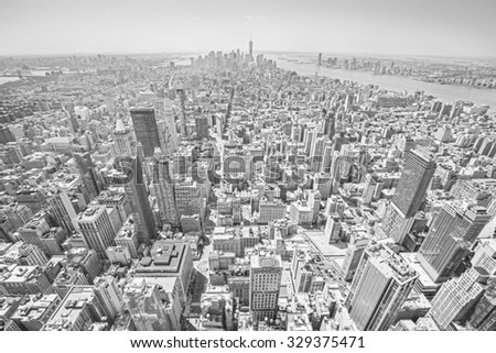 Black and white toned view of Manhattan, New York City, USA - stock photo