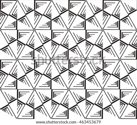 Black-and-white tones. Geometric patterns laid out on a hexagonal pattern of creating seamless mirror illustrations. For the textile industry, interior design, graphic arts