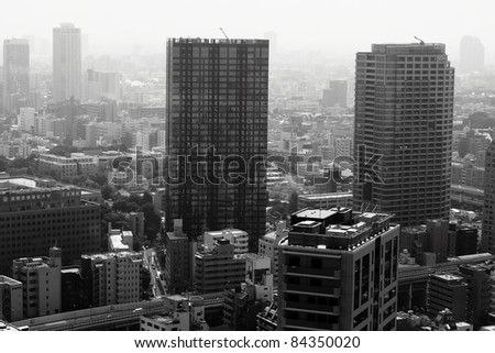Black and white top view of japan building - stock photo