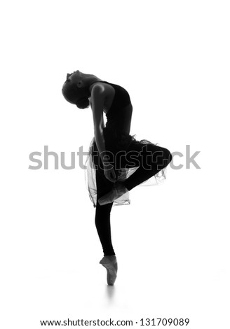 Black and white trace of young beautiful ballet dancer isolated over white background - stock photo