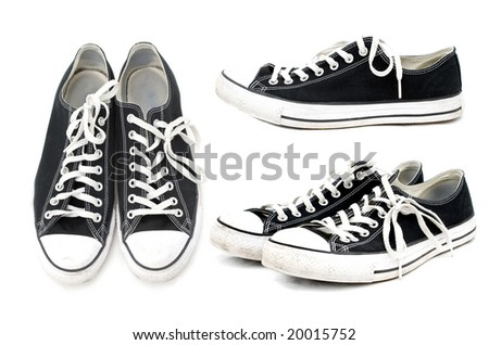 black and white trainers - stock photo