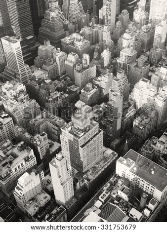 Black and white urban landscape of midtown Manhattan in New York City - stock photo