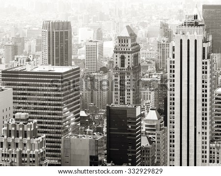 Black and white urban scene with modern and vintage skyscrapers in New York City - stock photo