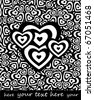 black and white valentine's hearts, background for text - stock photo