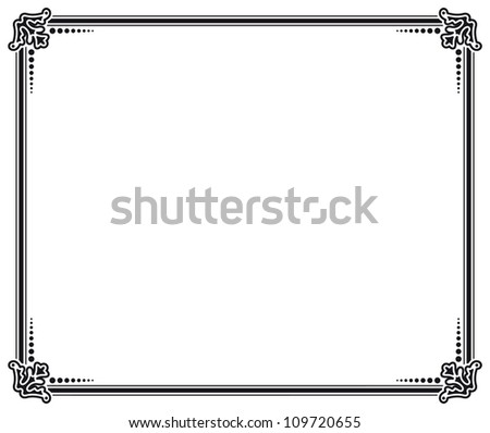 black and white vector frame - stock photo