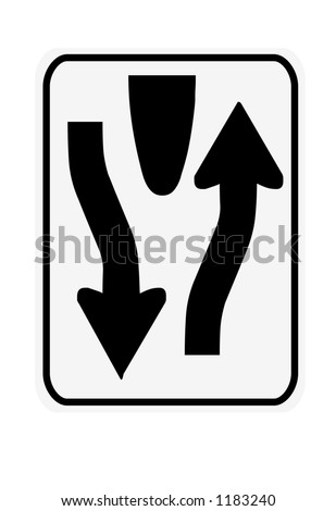 Black and white vertical divided highway ends traffic sign - stock photo