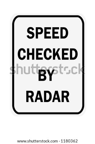 Black and white vertical speed checked by radar traffic sign - stock photo