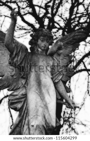Black and White Victorian Angel Grave Marker - stock photo