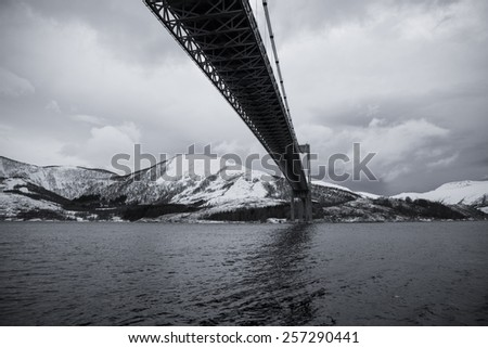 Black and white view of a Norwegian fjord with snowy mountains, Nordland, Norway - stock photo