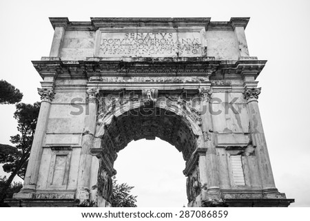 Black and white view of Arch of Titus  in Rome, Italy - stock photo
