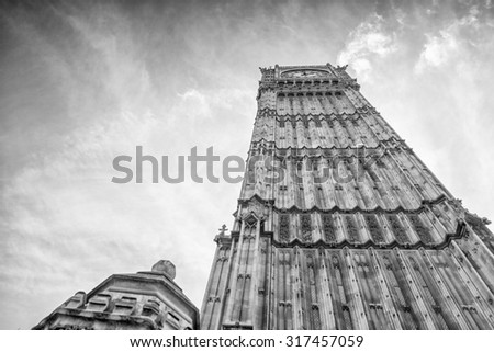 Black and white view of Big Ben and Houses of Parliament, London. - stock photo