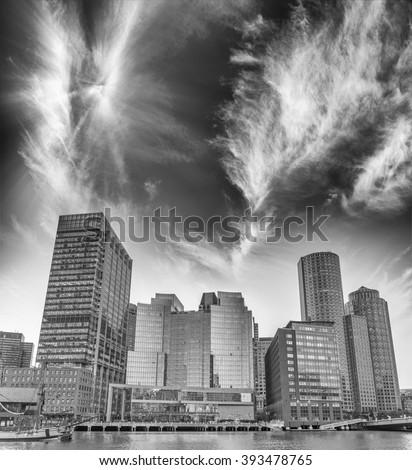Black and white view of Boston skyline, Massachusetts. - stock photo