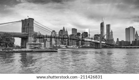 Black and white view of Brooklyn Bridge Park in New York. - stock photo