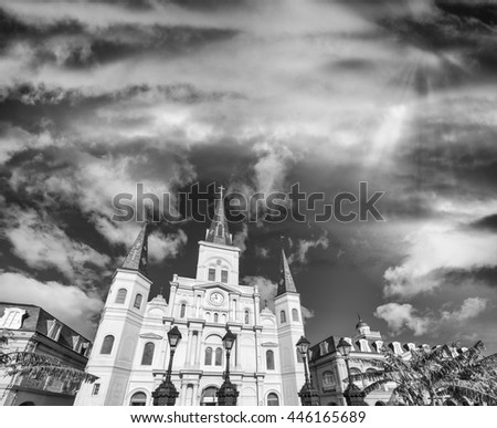 Black and white view of Jackson Square at dusk, New Orleans. - stock photo