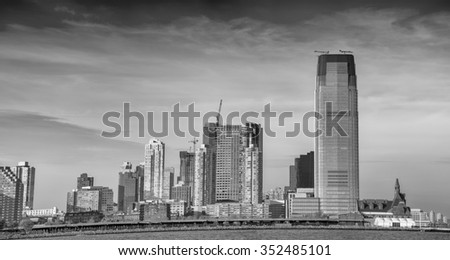 Black and white view of Jersey City skyline. - stock photo
