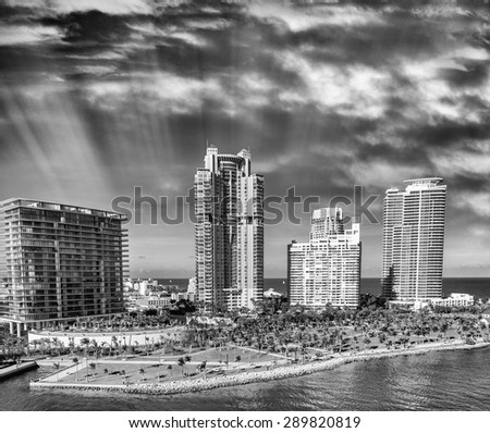 Black and white view of Miami skyline, Florida, USA. - stock photo
