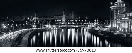 Black and white view of night Moscow, Russia - stock photo