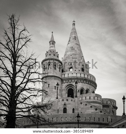 Black and white view on tower of fisherman bastion. Buda hill, Budapest, Hungary, Europe travel. - stock photo